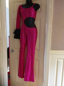 GORGEOUS-PINK-amp-BLACK-DISCO-FREESTYLE-COSTUME-ONE-PIECE-B1