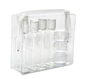 HOLIDAY-TRAVEL-CLEAR-PLASTIC-BOTTLES-PACKS-100-ml-BOTTLES-JARS-amp-CLEAR-BAG