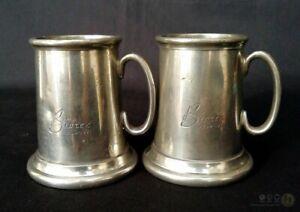 Pair-Of-English-Pewter-Miniature-Commemorative-Tankards-Biotex-1950-1971