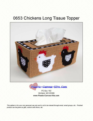 Chickens Long Style Tissue Box Topper-Plastic Canvas Pattern or Kit