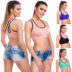Womens-Push-Up-Padded-Sports-Bra-Cross-Back-Stretchy-Gym-Yoga-Activewear-FG9107