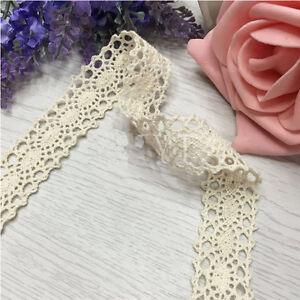 Vintage-Adorno-De-Novia-Boda-de-Encaje-Marfil-Crema-Cinta-Craft-Algodon-Crochet-B075