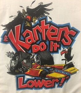 Vintage-Kart-racing-Tee-Shirt-034-karters-do-it-lower-034