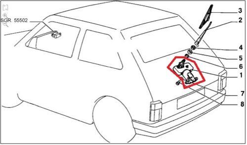 Fiat 126 bis motorino tergicristallo posteriore originale 7625054