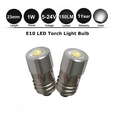 2x 5-24v E10 LED Flashlight Lamp Torch Bulbs for 6 9 12 14 18 D/C AA cell torch