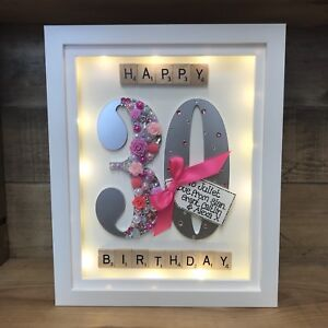 Image Is Loading LED LIT BOXED FRAME SPECIAL BIRTHDAY GIFT 30th