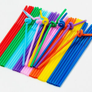 100pcs-Multicolor-Long-Bendy-Straight-Drinking-Straws-Home-Bar-Cocktail-Straw