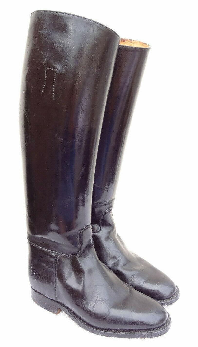Mens negro de cuero genuino botas de montar a caballo de mostrar Vintage todo 9 último