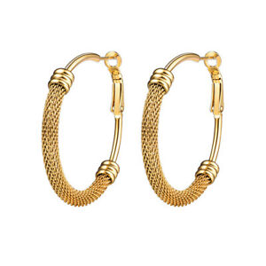 Details About Bm Large Hoop Earrings Punk Jewelry Stainless Steel Gold For Women