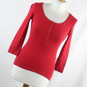 New-Look-Womens-Size-10-Red-Plain-Cotton-Basic-Tee