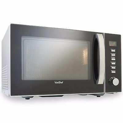 VonShef Large 23 Litre Microwave Oven Solo Countertop Black 900W Digital Family