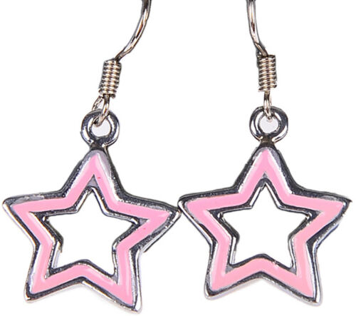 Rosa Cute Sternchen STARS Ohrhänger Rockabilly Retro 50s Ohrschmuck