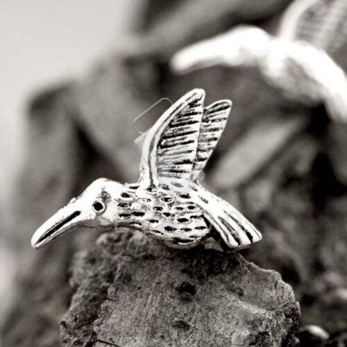 50pcs Tibetan Silver Metal Loose Spacer Beads Charm Jewelry Bird 8x18x4mm YB