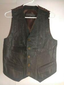 Europe-Craft-Men-039-s-Dark-Brown-Leather-Vest-Size-Medium-Pre-Owned
