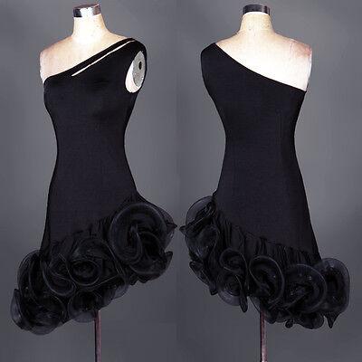 Latin Ballroom Dance Dress Modern Salsa Waltz Standard Long Dress#FM044 Black