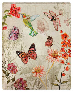 "THROWS - ""SECRET GARDEN"" THROW BLANKET - 50"" X 60"" - HUMMINGBIRD - BUTTERFLY"