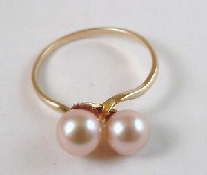 100-Genuine-Vintage-9k-Solid-Yellow-Gold-amp-Natural-Pearls-Ring-Sz-7-5-US