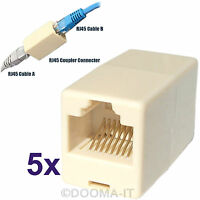 5x RJ45 Cat5/Cat6e Ethernet Network Cable Wire Straight Coupler Joiner Connector