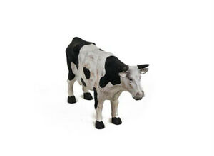 Cow-Statue-Figurine-Wood-Carved-Black-White-Farmhouse-Decor