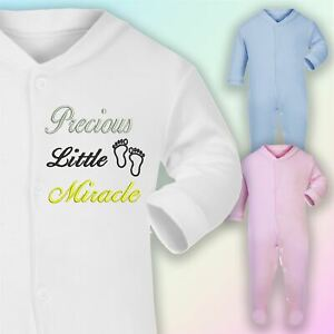 Precious Little Miracle Embroidered Baby Romper Babygrow Gift Rainbow Unisex