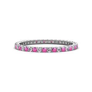 Sapphire-amp-Diamond-Eternity-Ring-Stackable-0-74-ctw-14K-White-Gold-JP-148263