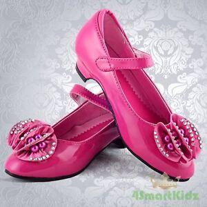 Hot pink dress shoes size uk1 eu33 wedding flower girl bridesmaid image is loading hot pink dress shoes size uk1 eu33 wedding mightylinksfo
