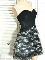 Ntw-$139 Blondie Nites Jr Dress 1/3/5/7 Black Tiered Skirt Sequins Slip-on Gown