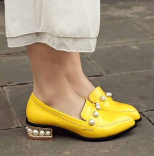 Bottines Femme Talon Bas Cuir Verni Pearl mocassins compensés à bout pointu Escarpins Chaussures De Loisirs Zhou 8