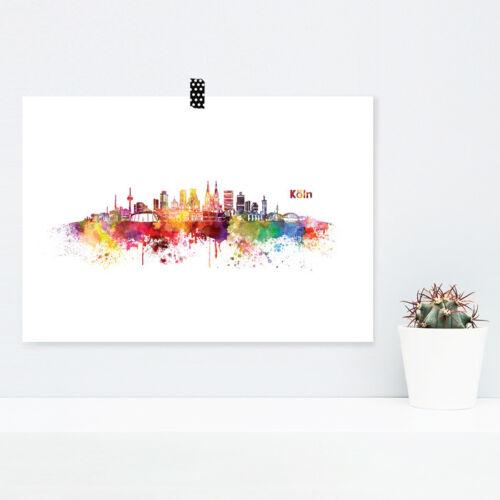"""JUNIWORDS Poster /""""Skyline Köln/"""" in Aquarell Geschenk Geburtstag DIN A4 A3 A2 A1"""