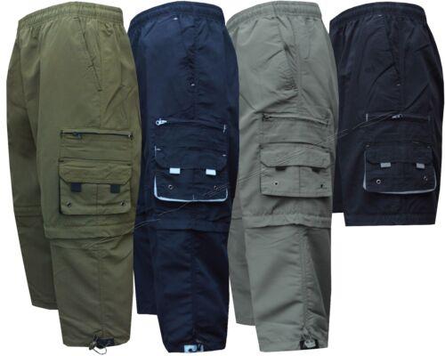 New Mens Elasticated Waist 2 In1 Zip Off Cargo Combat 3//4 Long Shorts Pant M-XXL