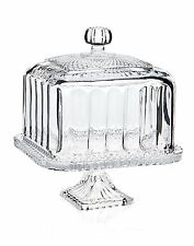 Clear Glass Belmont Cake Stand Vintage Crystal Plate Dome Cover Pedestal Party