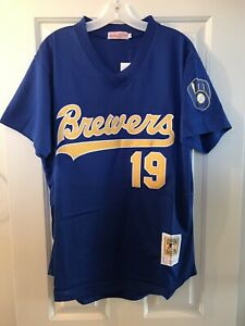 outlet store e98a1 0f2f5 Details about Milwaukee Brewers #19 Robin Yount 1991 Throwback Jersey Blue  Mesh pullover Mens