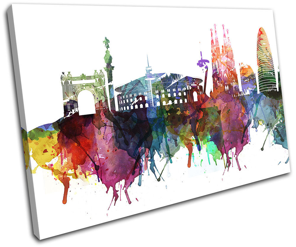 Barcelona Watercolour Style Abstract City SINGLE TOILE murale ART Photo Print