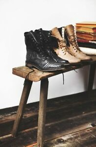 70d868628a09b Free People Sounder Military Ankle Boots Black Leather Size 37 (6 US ...