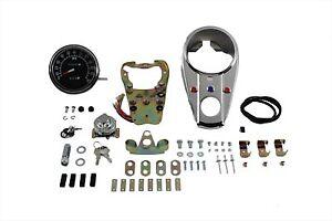 Chrome Three Light Dash Panel Kit w// 2:1 Ratio Speedometer for 1948-1995 Harley