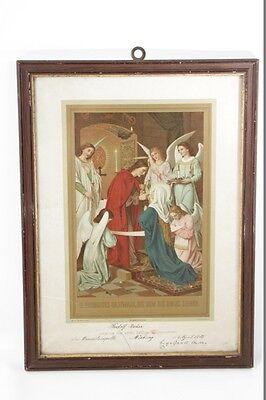 Muebles Antiguos Y Decoración Bonito Antiguo Marco De Fotos Con Imagen Comunión 1905 Buy Now