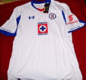 """DEPORTIVO CRUZ AZUL MEXICO """"UA FITTED"""" EMBROIDERED SOCCER JERSEY MEN'S XL $90"""