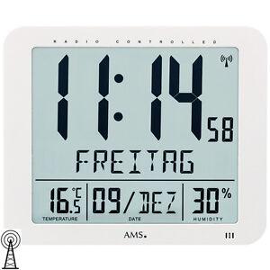 Ams-5886-Horloge-Murale-de-Table-Radio-Pilote-Radio-Pilotee-Numerique-Blanc-Date