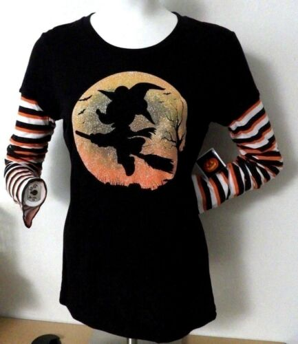 MINNIE MOUSE Witch DISNEY Halloween T-SHIRT 2Fer TEE Juniors Size L NEW W//TAG