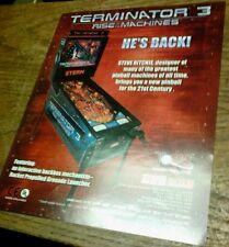Stern TERMINATOR 3 Pinball Game flyer- original