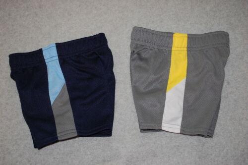Baby Boys 2 LOT ATHLETIC SHORTS Mesh Net NAVY BLUE /& GRAY Yellow White 0-3 MO
