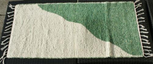 """Badteppich gewebt /""""halb//halb/"""" natur//grün 135 x 65 cm Teppich waschbar Teppich"""