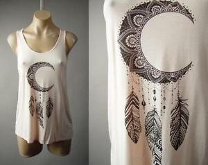 b7c604c9c5586 Light Pink Moon Dreamcatcher Graphic Racer Back Yoga Tank Top 232 mv ...