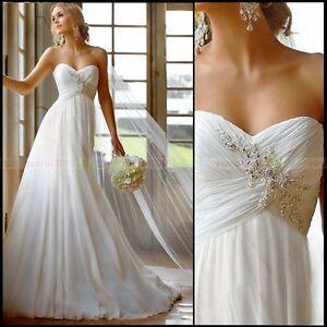 New Elegant Design White/Ivory Chiffon Beach Wedding Dress Size4 6 8 10 12 14 16