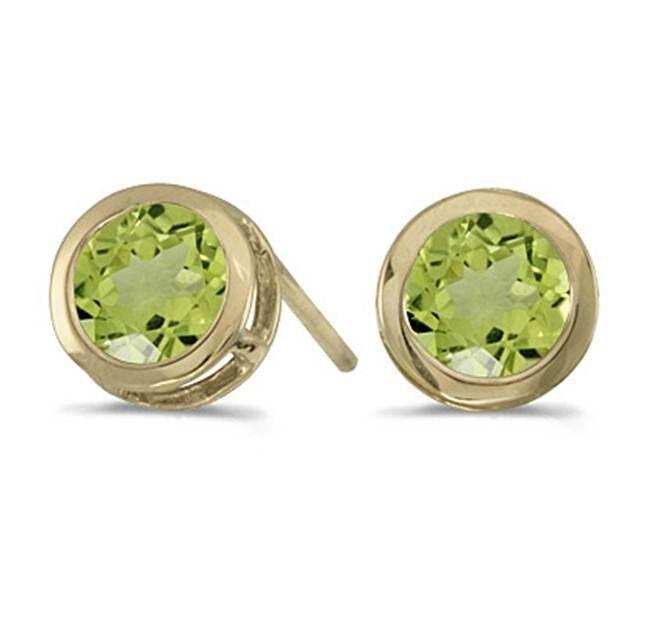 14K Genuine Peridot 1.00ctw Round Bezel Stud Earrings