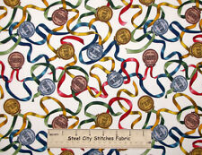 Quilting Treasures Go For The Gold Silver Bronze Medal Award Cotton Fabric YARD