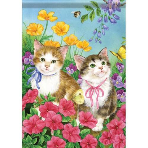 FlagTrends  Spring Kittens Two Sided  13X18 Dura Soft   Decorative Flag 45579
