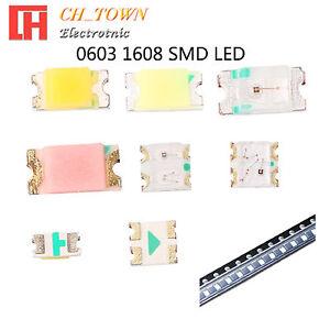 50-100pcs-0603-1608-SMT-SMD-LED-Emitting-Diodes-White-Blue-RGB-Light-Lamp-Bulb