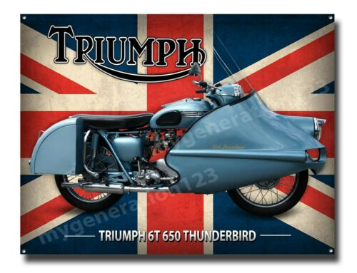 TRIUMPH 6T 650 THUNDERBIRD MOTORCYCLE METAL SIGN. CLASSIC BIKES A3