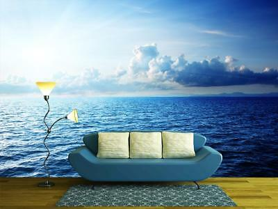 Open Sea Clouds Ocean Wallpaper Woven Self Adhesive Wall Mural Art Decal M168 Ebay